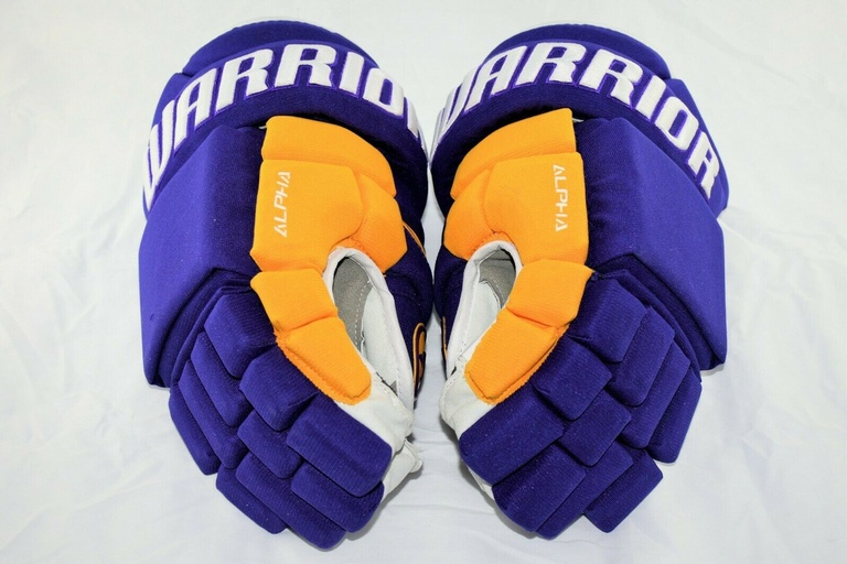 Warrior QX Pro Stock NHL Hockey Gloves LA Kings Purple Retro Gold 14 Shotblocker 1