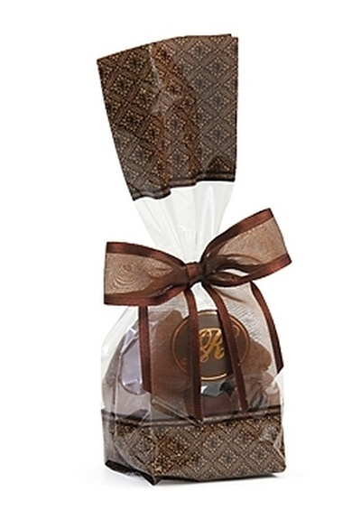 Brown Designer Gift Bag - Belgian Chocolate Pecan Caramel Clusters