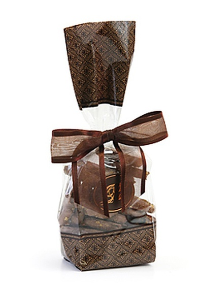 Brown Designer Gift Bag - Toffee Drizzled Belgian Chocolate Pretzels