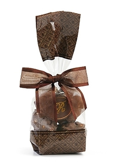 Brown Designer Gift Bag - Belgian Chocolate Peanut Clusters