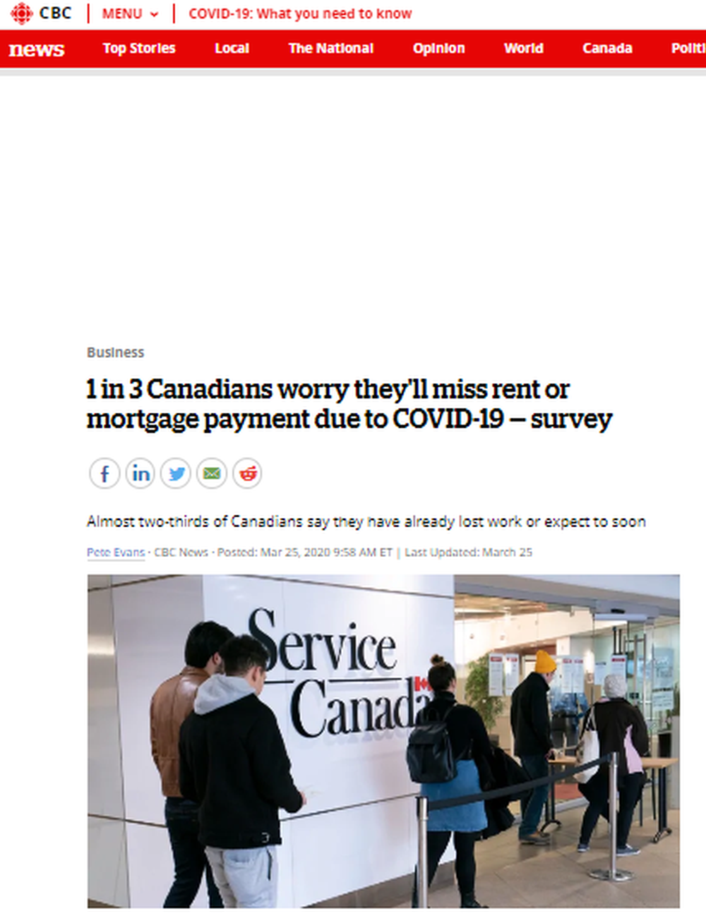 1 in 3 Canadians worry they ll miss rent or mortgage payment due to COVID-19 — survey   CBC News.png