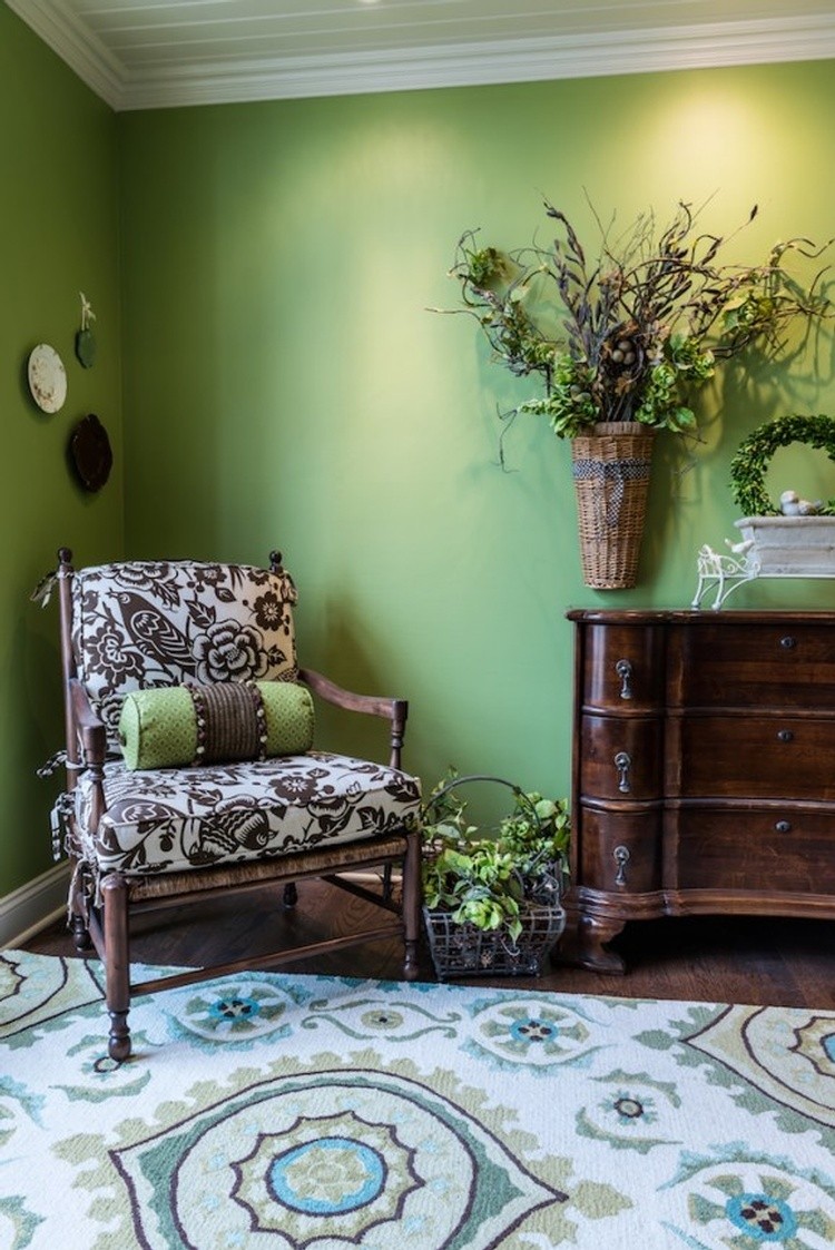 White and brown Floral padded Armchair beside Wooden Dresser - Interior Design Loch Lloyd