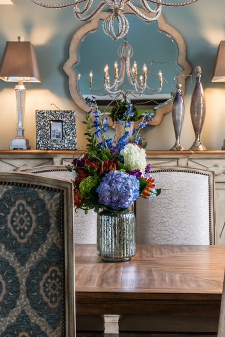 Flower bouquet in a Vase placed on Dining Table - Hunter's Ridge Dining Room Remodel by R Designs