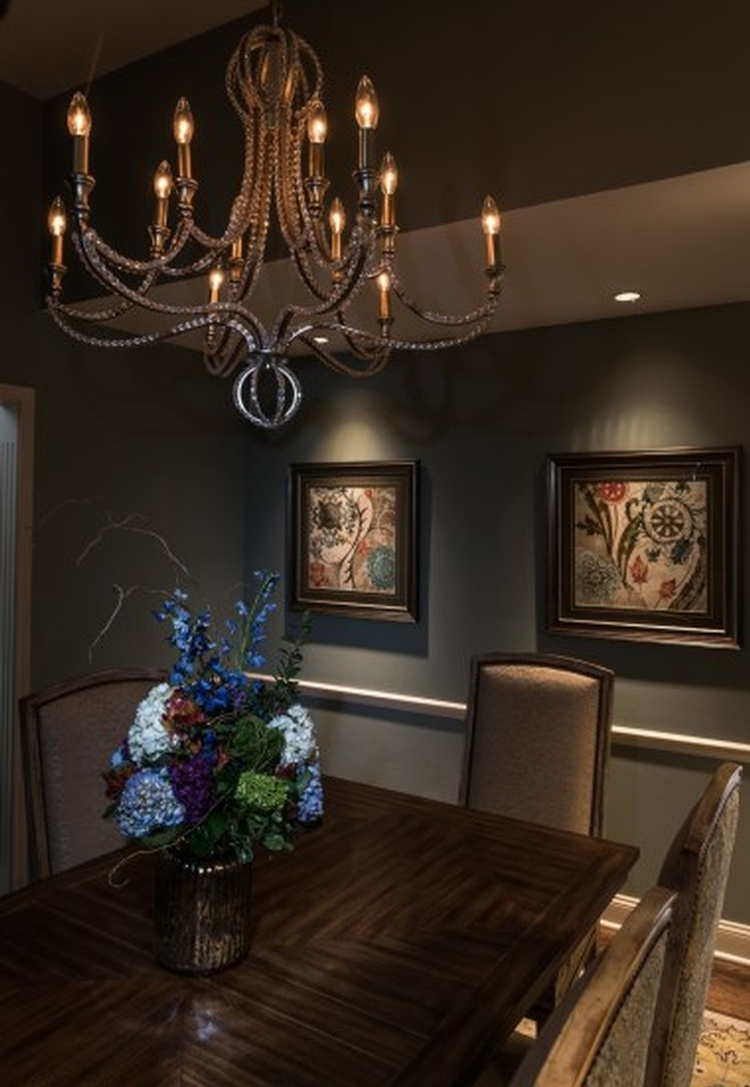 Beautiful Chandelier above Dining Table by R Designs