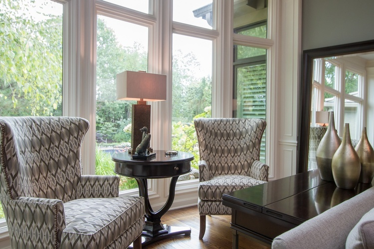 Two Gray and Brown Wing Chairs near Window - Personal Space Interior Design Services Kansas City by R Design