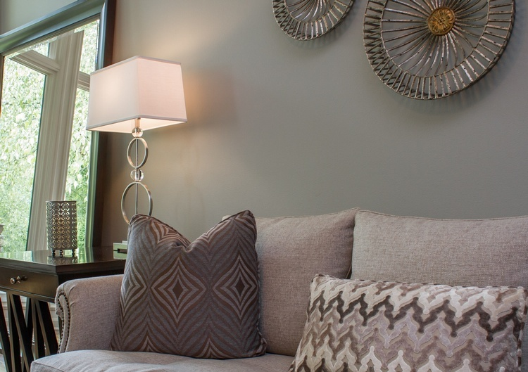 White Table Lamp near Sofa - Interior Decorator Kansas City