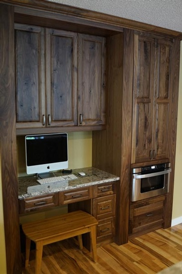 Walnut Desk - Custom Millwork Edmonton by ELITE KITCHENS INC.