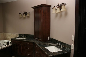 Angled Bathroom Vanities by  ELITE KITCHENS INC. in Sherwood Park