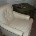 1950'S Club Chair With Original White Vinyl Upholstery