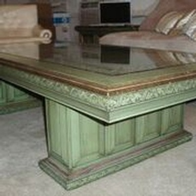 Green Carved Wood Coffee Table - Buy Vintage Furniture Online Los Angeles at Give Me Shelter Design