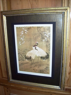 Japanese Crane Print In Gold Frame - Buy Antiques Online Santa Monica at Give Me Shelter Design