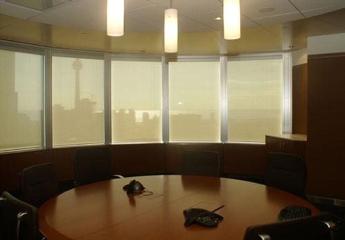EN3 Sunprotection, commercial interiors, Elektra Motorized Cassette Roller System, Phifer Sheerweave Screen, Toronto, Ontario, 5