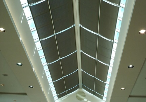 EN3 Sunprotection, Skylights, Elektra Motorized Sloping Skylight Roller System, Phifer Sheerweave Screen, Channels with Integrated Tube Supports, Vaughan, Ontario, 2