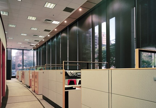 EN3 Sunprotection, commercial interiors, Dynamic-Lift Fascia Roller System. Integrated in Pocket, Phifer Sheerweave Screen, 2