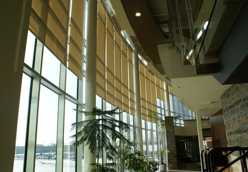 EN3 Sunprotection, commercial interiors, Elektra Motorized Multi-Banded Roller System with Fascia, Angle segmented, Phifer Sheerweave Screen, Cambridge, Ontario, 13