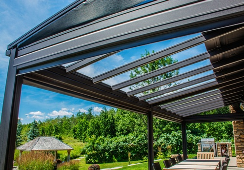 EN3 Sunprotection, residential exterior,  Pergola System, Exterior Perimeter Roller System- Motorized XTR150-T, Insect Screen- Phifer PetScreen, Exterior Sloped System- Motorized T30-T, Water Proof Screen- Soltis Water Proof, Orangeville, Ontario, 8B