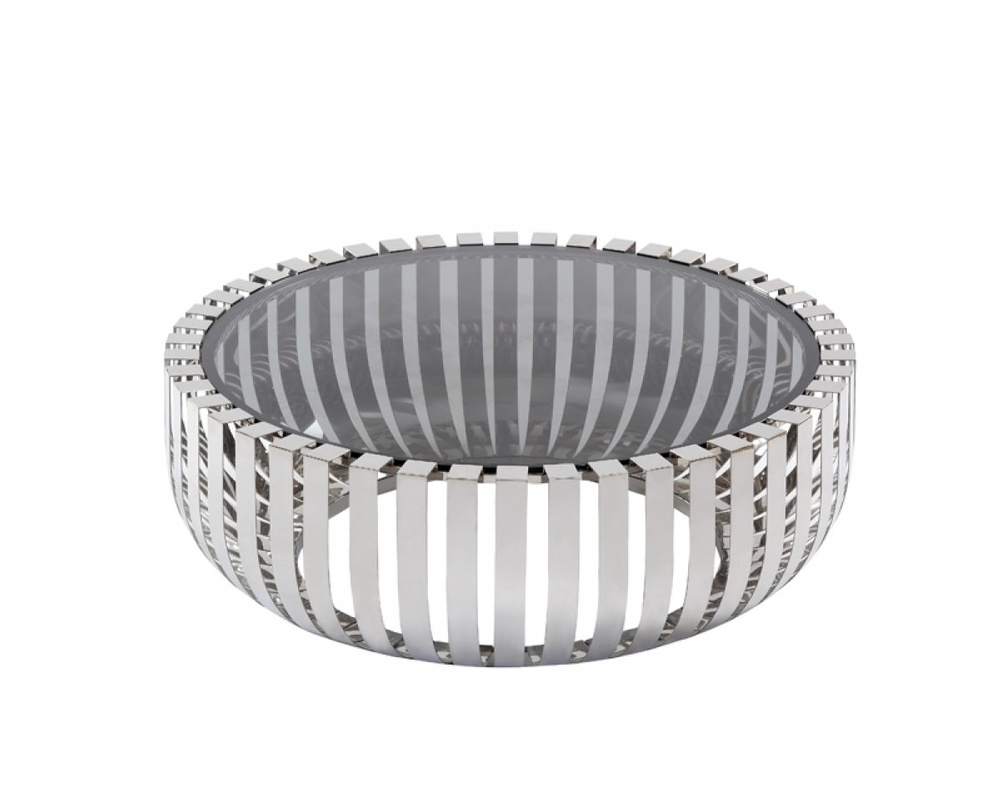 Flaunt Interiors Products Furniture Modrest Cage Modern Stainless Steel Round Coffee Table W Glass Top Fi 00345