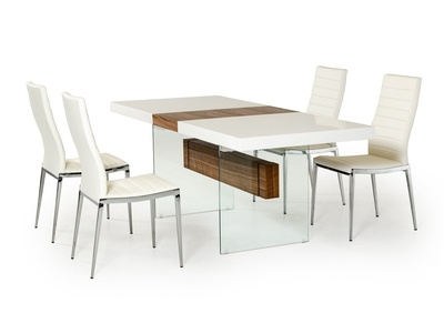 d54ddffc4c92 Modrest Sven Contemporary White   Walnut Floating Extendable Dining Table  FI - 00486