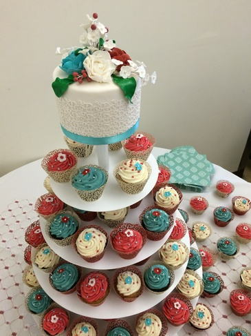 Wedding Cutting Cake with Cupcakes