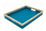 Rectangular Turquoise Nappa Leather Tray With a Woven Wicker Wood Edge - Waterproof Leather Accessories