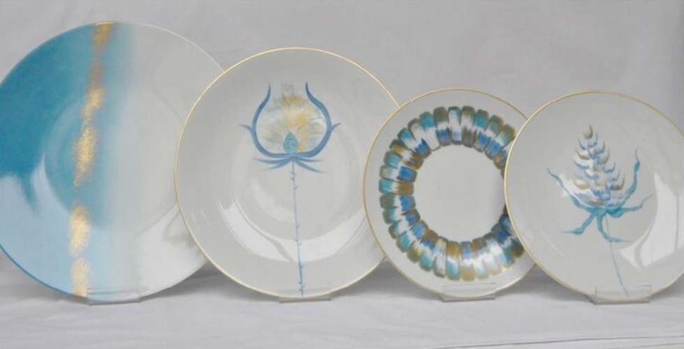 Blue and White Hand Painted Porcelain Luxury Dinnerware at The Silver Peacock Inc