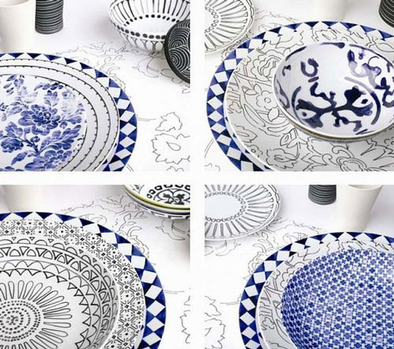 Isi Milano Floral Print Luxury Tableware at The Silver Peacock Inc