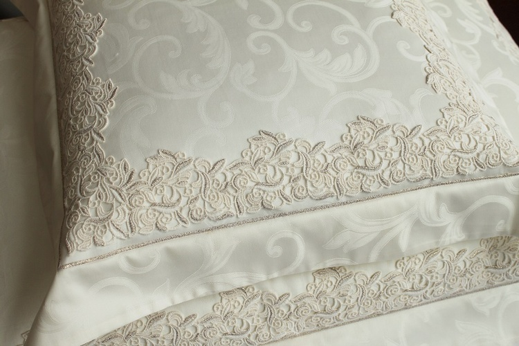 Luxury White Pillow with Lace Embroidery - Luxury Linens at The Silver Peacock Inc