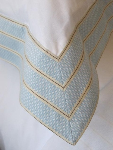 customized Blanket with Embroidered border - Tailored Linens at The Silver Peacock Inc
