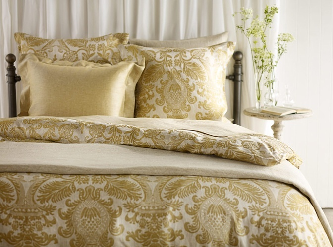Damask Duvet Linen Bed Covers at The Silver Peacock Inc