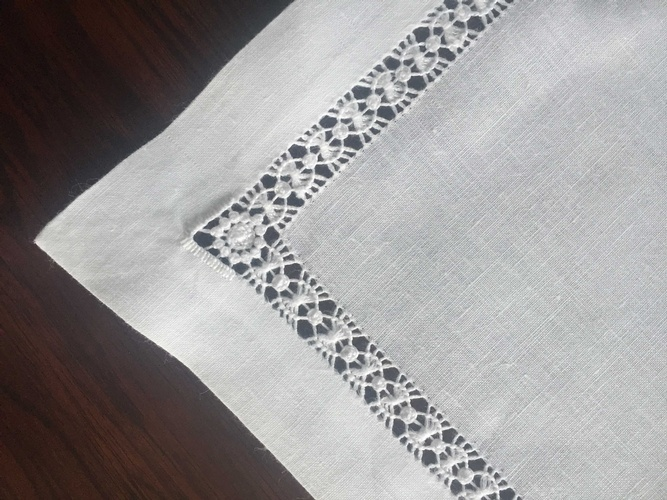 Linen Tablecloth with Crochet Lace Borders at The Silver Peacock Inc