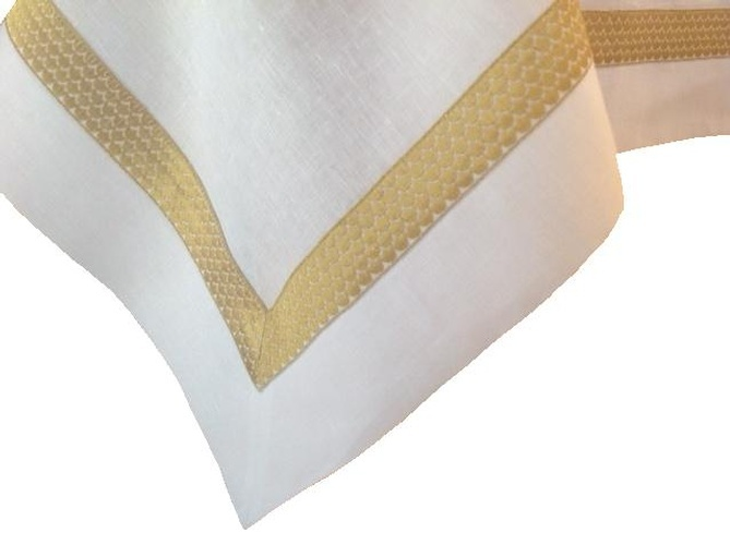 Plain White Table Linen with Gold Border - Italian Linens at The Silver Peacock Inc