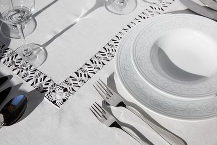 Plain White Table Linen with Lace Border - Italian Linens at The Silver Peacock Inc