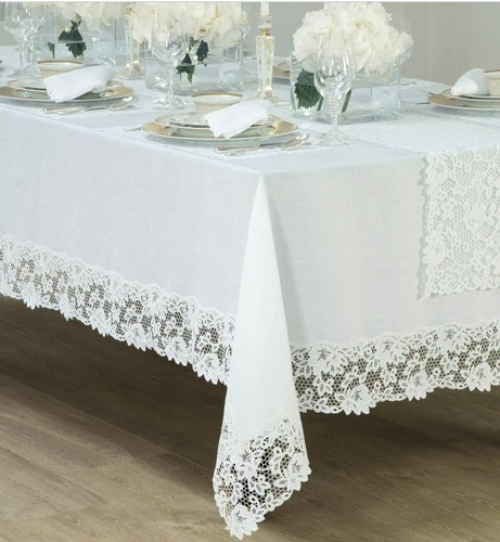 Plain White Tablecloth with Lace Border - Custom Tablecloth at The Silver Peacock Inc
