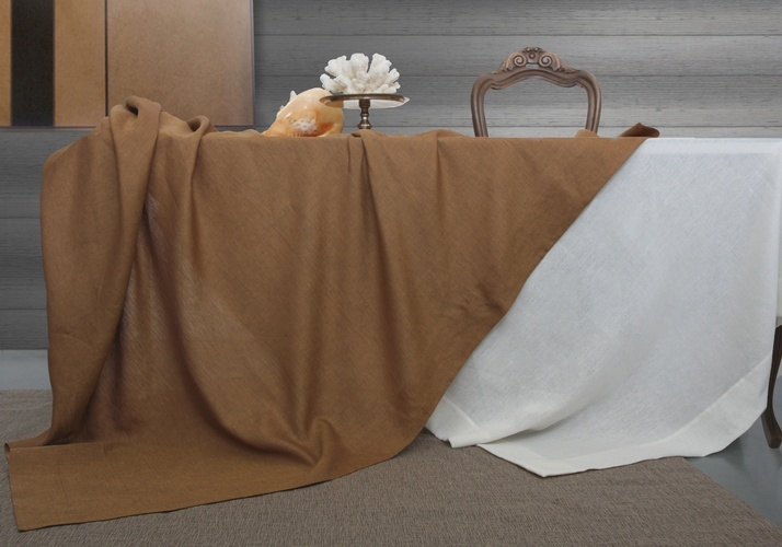 Custom Brown and White Tablecloths at The Silver Peacock Inc