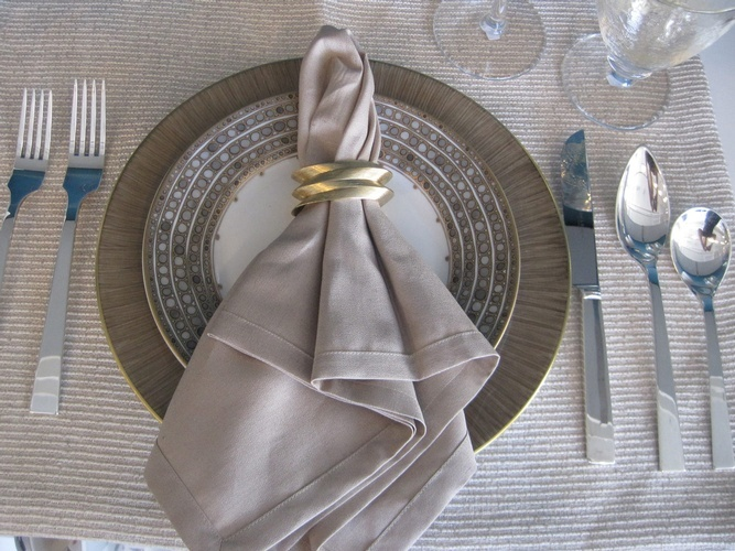 Grey Table Placemat and Napkin - Custom Table Linens at The Silver Peacock Inc