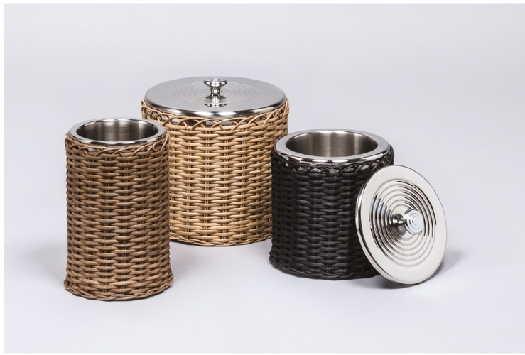 Wicker Ice Bucket - Barware at The Silver Peacock Inc
