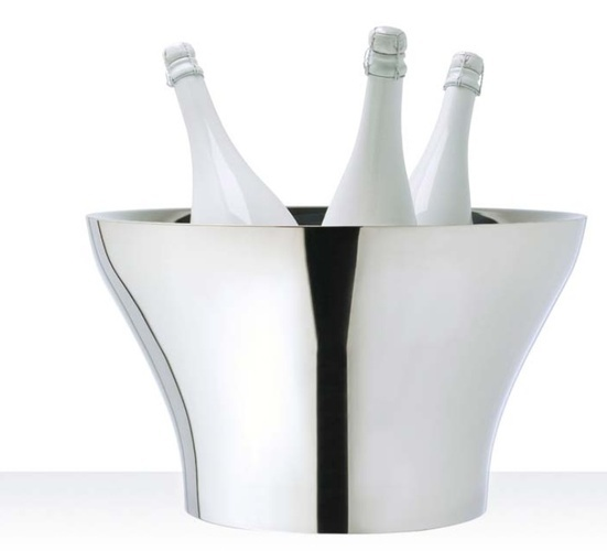 Silver Ice Bucket with Champagne Bottles - Silver Barware at The Silver Peacock Inc