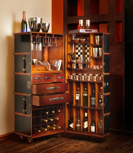 Wooden Wine Trunk - Luxury Barware Collection at The Silver Peacock Inc