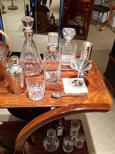 Crystal Decanters on Wooden Table -  English Barware Collection at The Silver Peacock Inc