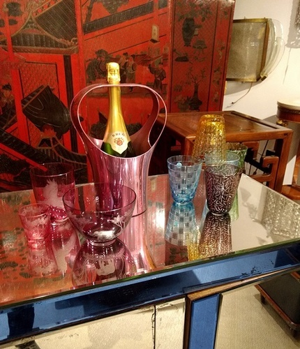 Murano Glasses and Wine Bucket - Barware at The Silver Peacock Inc