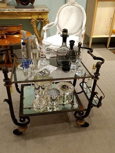 Crystal Decanters on Bar Cart - Barware at The Silver Peacock Inc