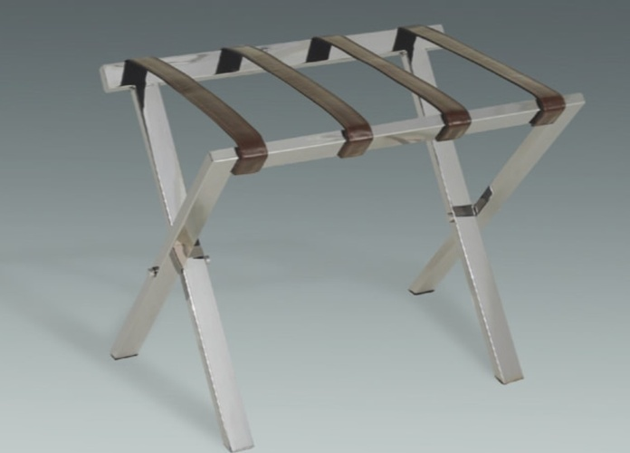 Stainless Steel folding Luggage Rack at The Silver Peacock Inc