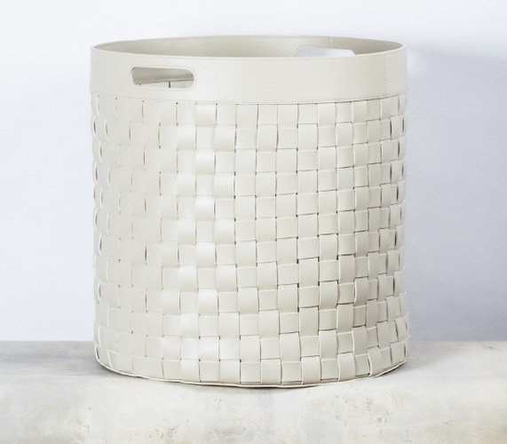 White Woven Laundry Hamper - Luxury Home Accessories at The Silver Peacock Inc