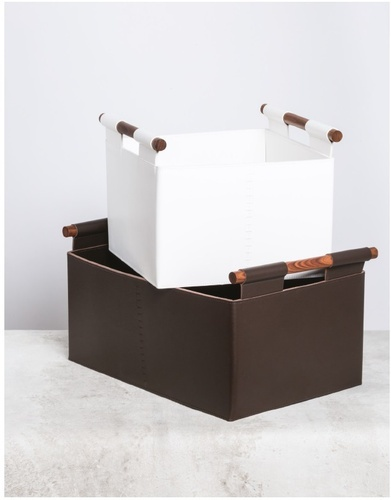 Brown and White Laundry Hampers - Luxury Room Accessories at The Silver Peacock Inc