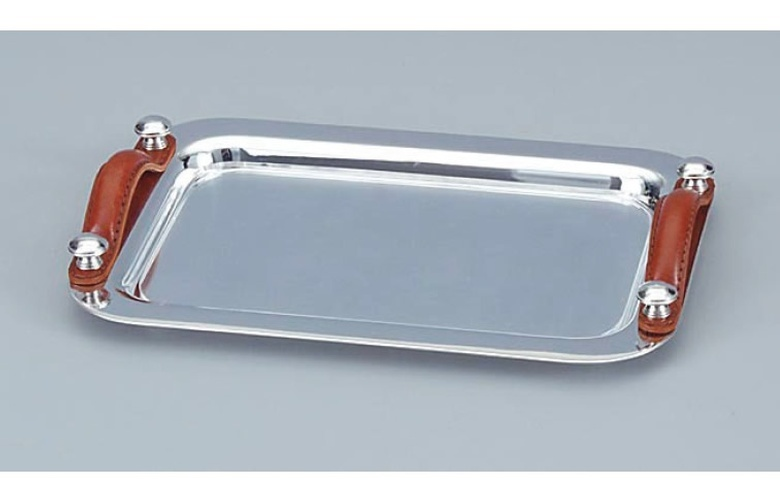 Stainless Steel Tray with Leather Strap Handles at The Silver Peacock Inc