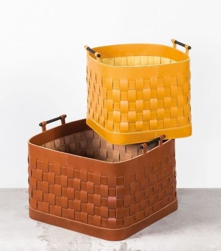 Yellow and Brown Laundry Hampers at The Silver Peacock Inc