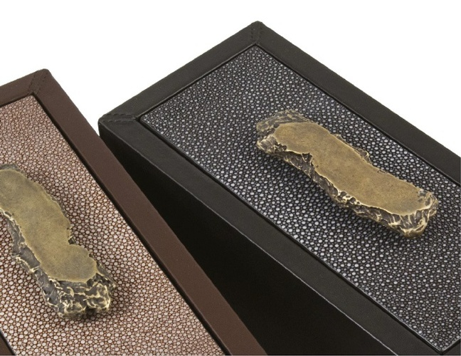 Contemporary Leather Box with Brass Handle at  The Silver Peacock Inc