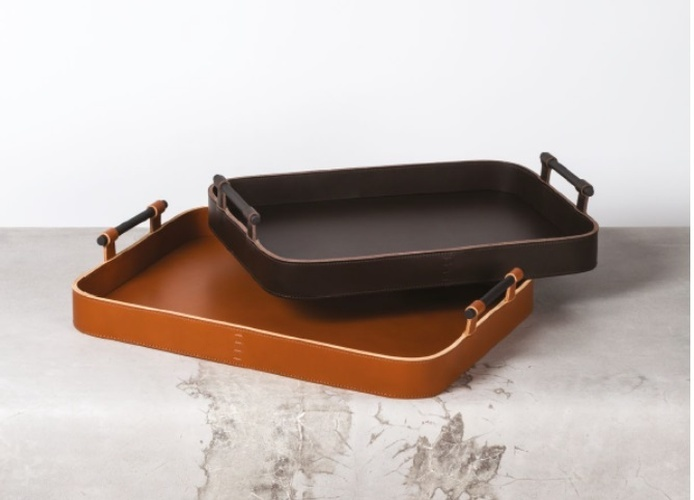 Leather Trays with Metallic Handle at The Silver Peacock Inc