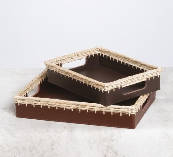 Leather Tray with Woven Wicker Edges at The Silver Peacock Inc