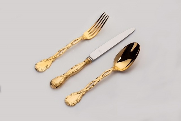 Odiot Luxurious Cutlery in gold vermeil at The Silver Peacock Inc - Art Deco Flatware